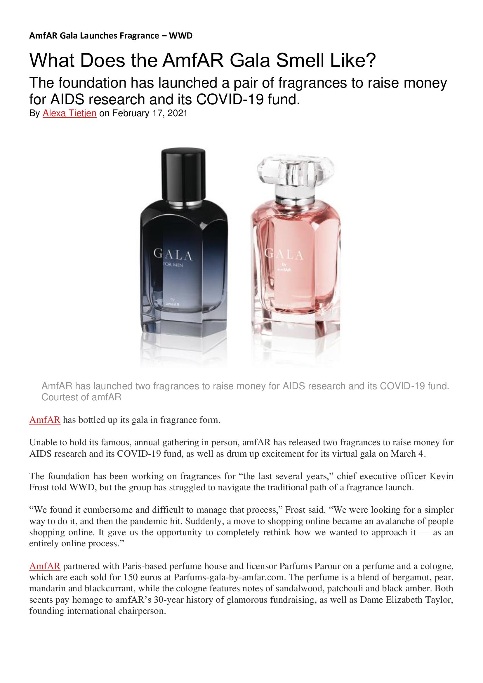 AmfAR Gala Launches Fragrance – WWD